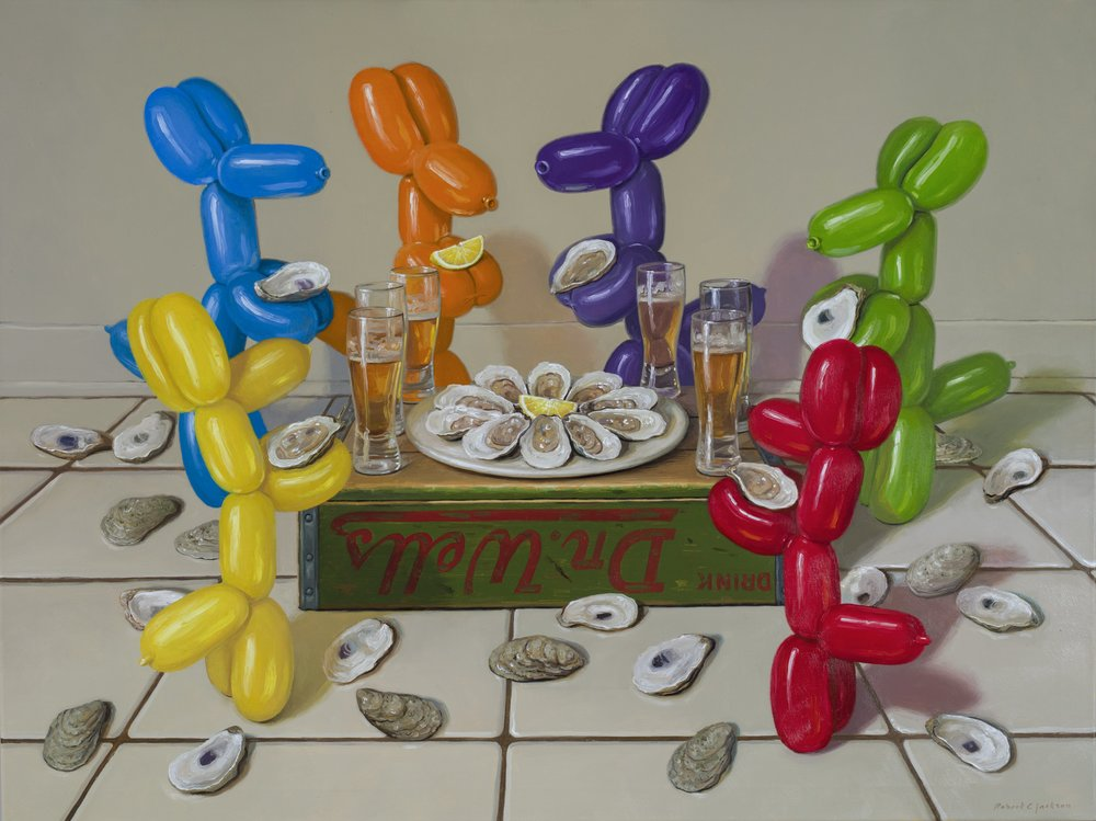 "Shuck Party, Oil on Linen 30""x 40"""