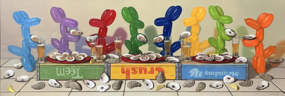 "Oyster Bar, Oil on Linen 24"" x 72"""