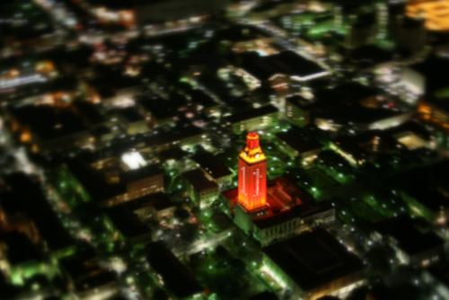 UT Tower Lit-Up Burnt Orange, National Football Championship - Austin, Texas - Austin Aerial Photographer - Austin Drone Photo - Video - Austin, TX