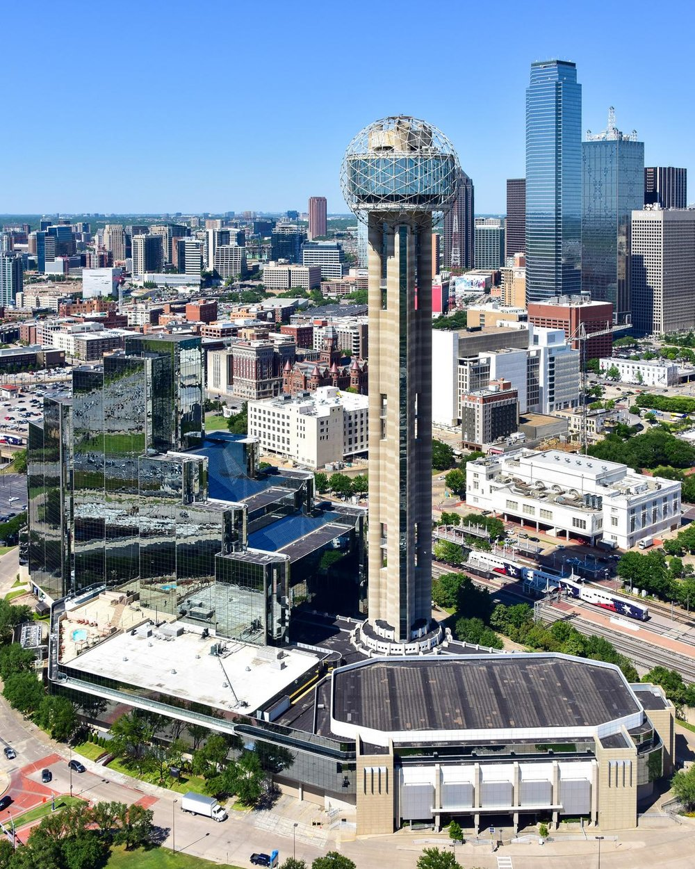 Reunion Tower and Arena, Dallas, Texas - Dallas Aerial Photography Dallas - Dallas Aerial Drone Image - Dallas, TX