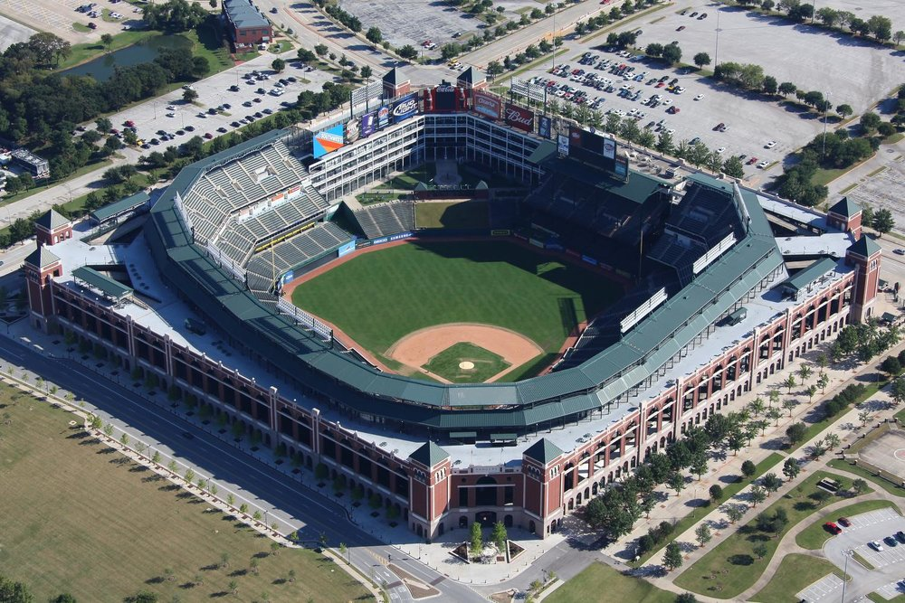 Globe Life Park - Arlington, Texas - Texas Rangers Baseball - Dallas Aerial Photography Dallas - Aerial Drone Image - Aerial Drone Video - Dallas - TX