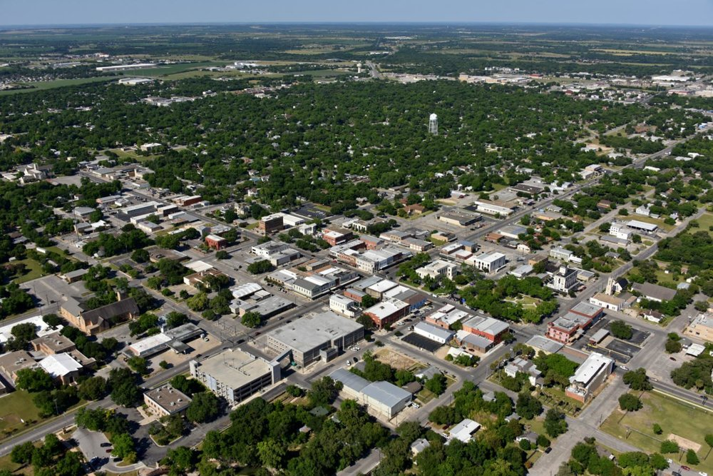 Downtown CBD, Seguin, Texas - Seguin Aerial Photographer - Aerial Drone Image - Aerial Drone Video - Seguin, TX - Guadalupe County, Texas