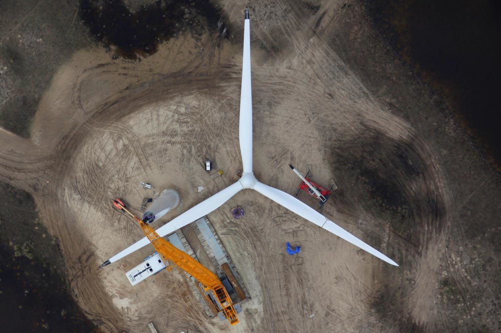 Wind Turbine Construction, Corpus Christi, Texas - Aerial Construction Photography