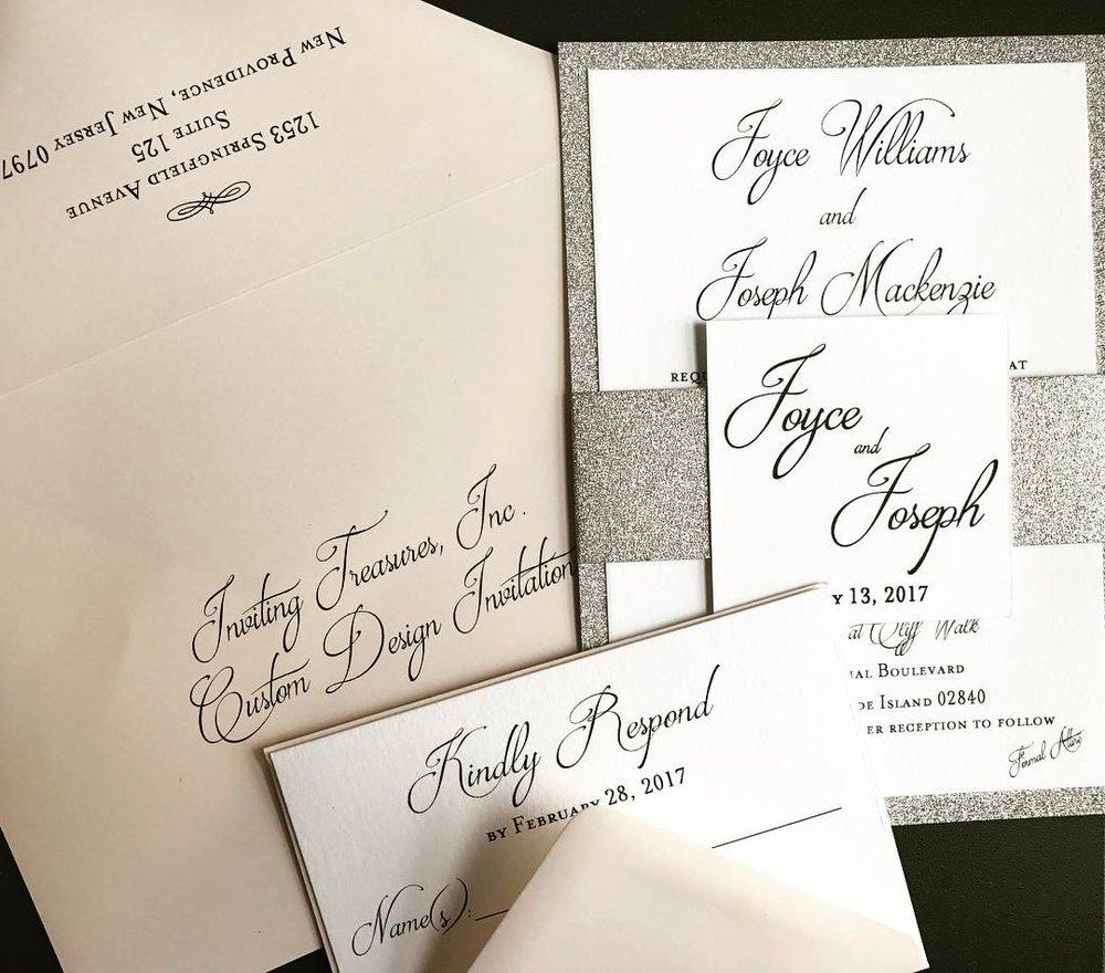 Blush and Silver Invitations
