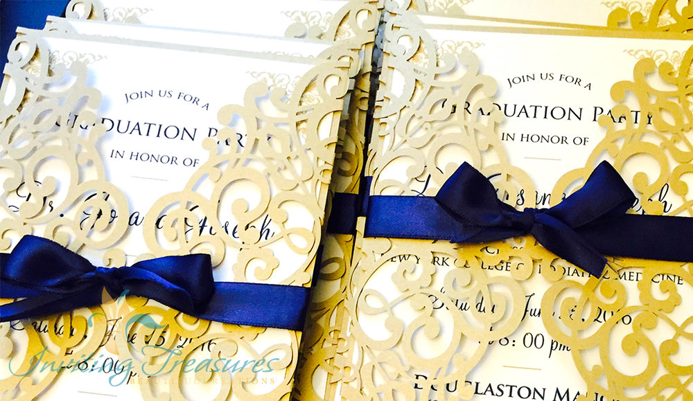 Navy and Gold Laser Invitations