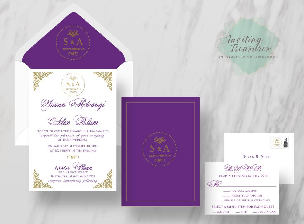 Royal - Gold an Purple Invitations