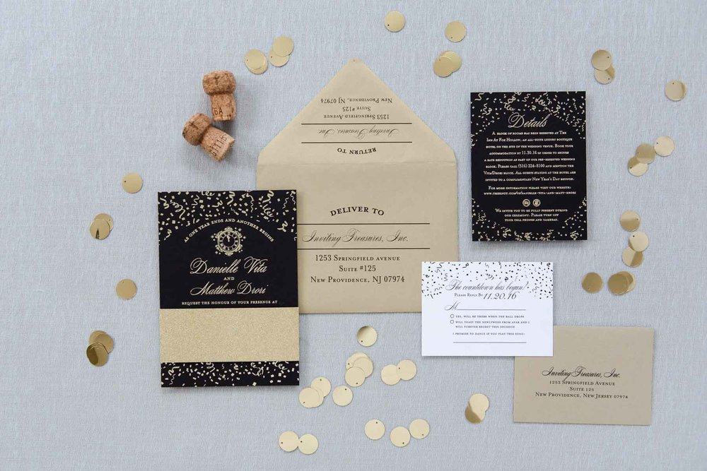 Gold Foil and Black Invitations