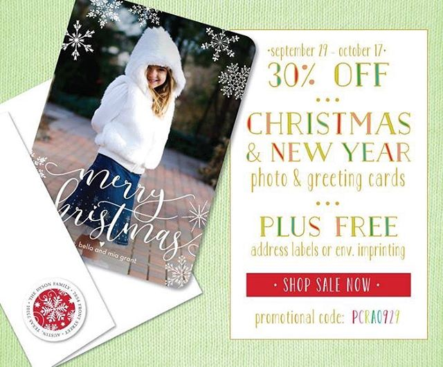 Hello! Our 30% off Christmas and New Year Photo & Greeting Cards and FREE return address labels or envelope printing special is going on NOW!  http://bit.ly/2017-Holidays. Use promo code - PCRA0929 #holidayseason #holidayfun #holidayphotos #holidayphotocards #christmas #christmascards #newyear2017 #newyearphoto #invitingtreasures