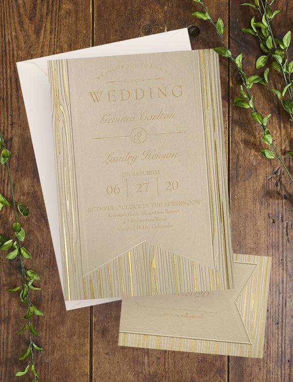 Wood and Foil Invitations