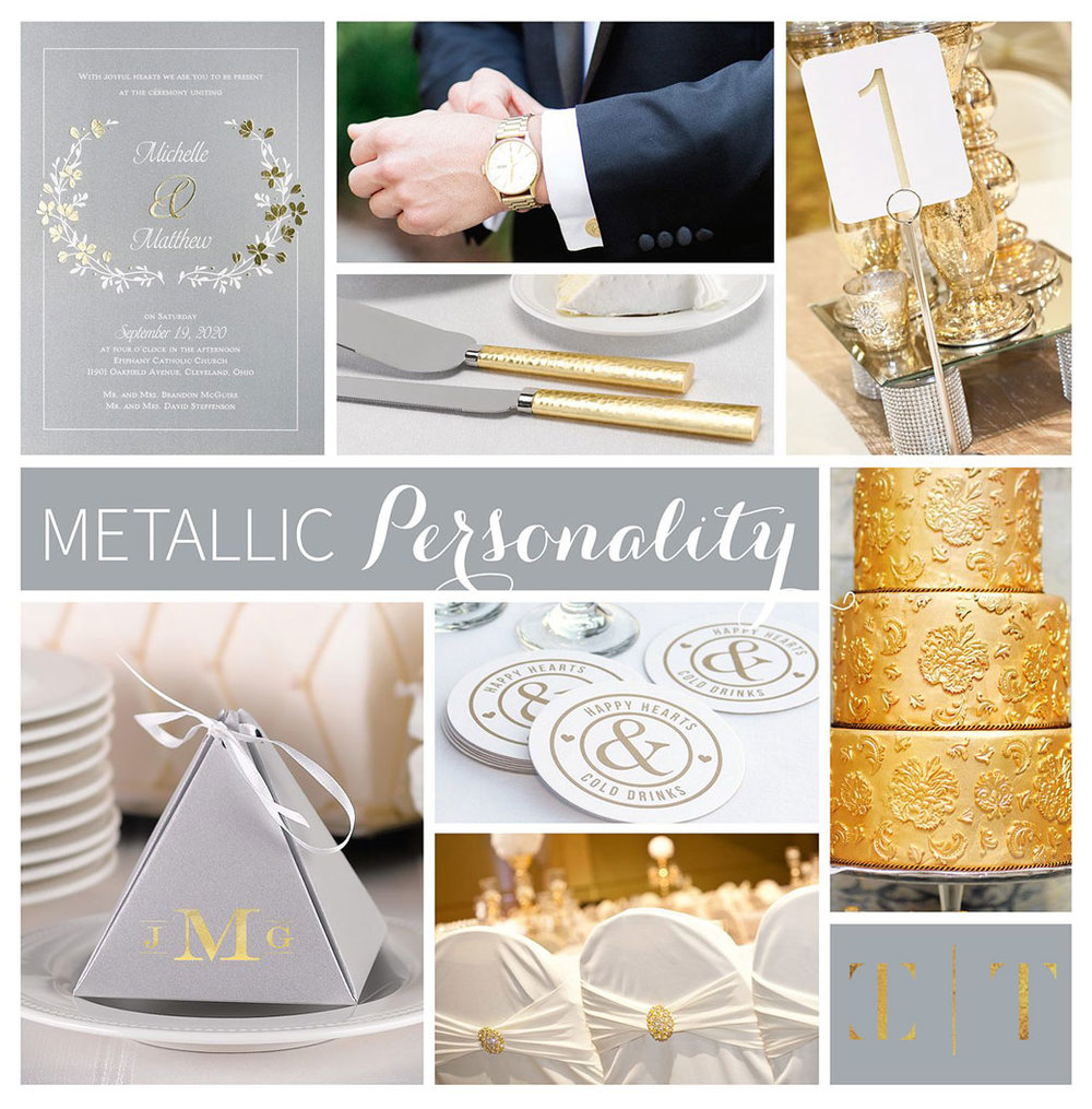 Brighten up your wedding by adding metallic shine! It's super trendy and a few simple pieces can add the perfect sparkle to your special day. Invite guests with our beautiful Timeless Garden – Double Thick Invitation. The foil design gives an elegant feel. Decorate your table to the nines in metallic. Silver Shimmer Pyramid Boxes will hold sweet treats for your guests perfectly. Foil table number cards in gold will help guests to easily locate their tables. Use gold table number stands to help the cards stand out from your beautiful centerpieces. Supply Happy Hearts Coasters at the bar. This is a cute touch to add to your special day that is unique to the two of you! Consider going one step further with your own signature cocktails. Go all out for the cake. Decorate it with shining gold frosting and use a Hammered Gold Serving Set during the cake cutting ceremony! A special day like this will stand out in you guest's memories for years to come.