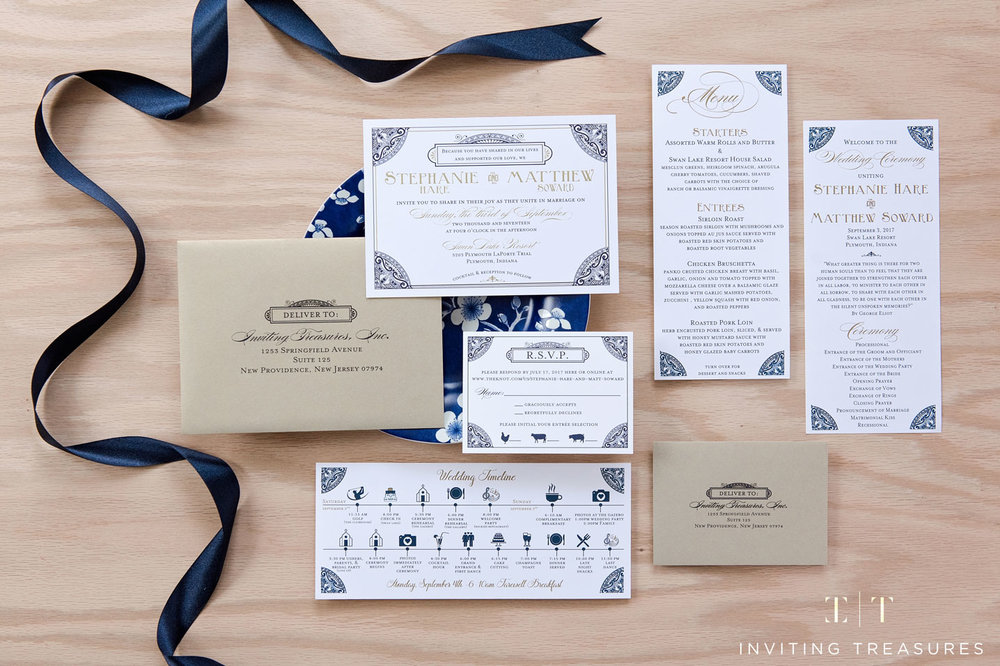 1920's Theme - Navy and Gold Foil invitation