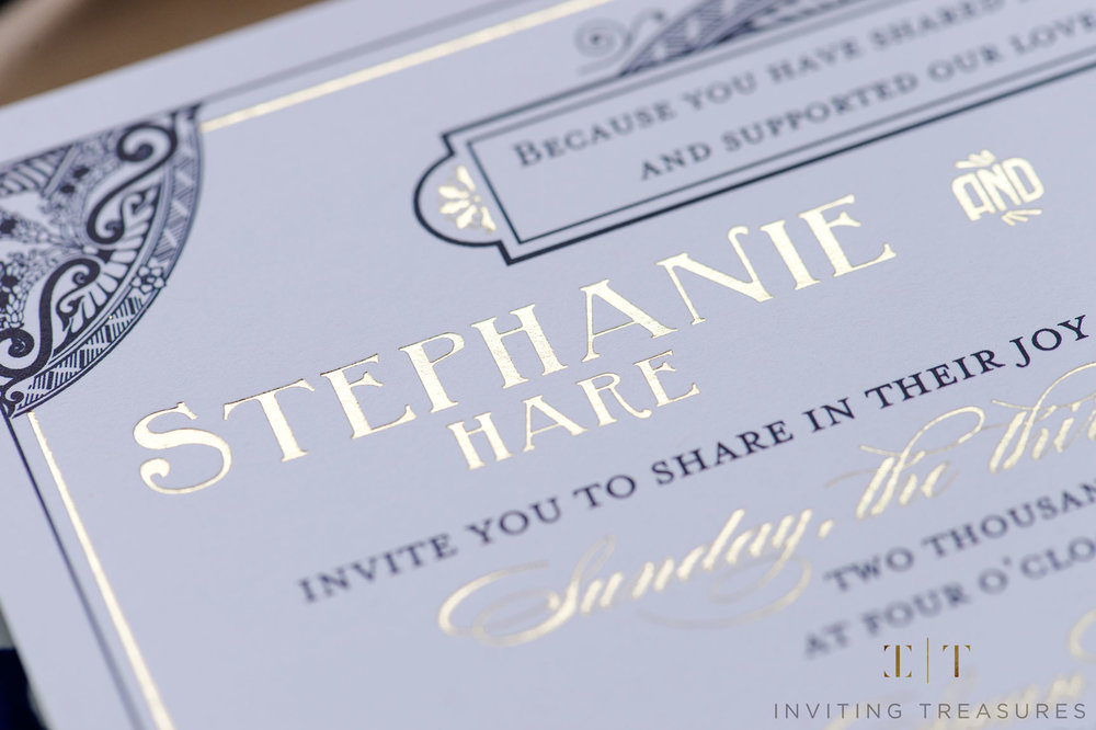 Gold Foil and Navy invitation
