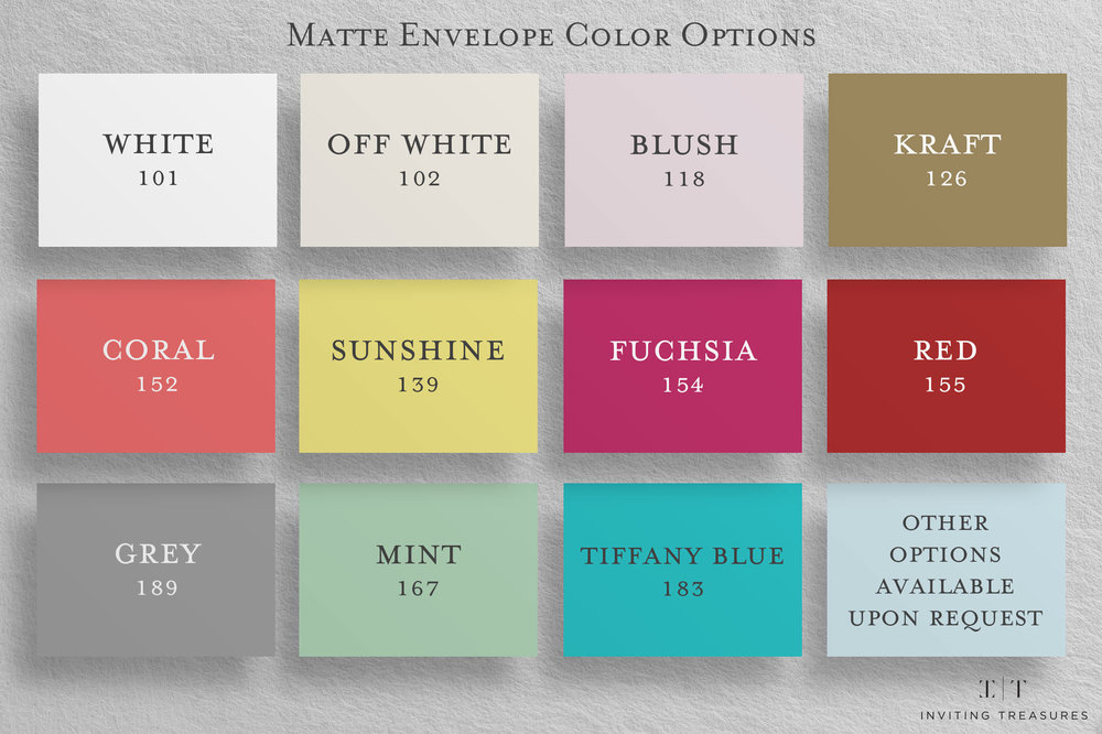 Copy of Copy of Matte Envelope Color Options