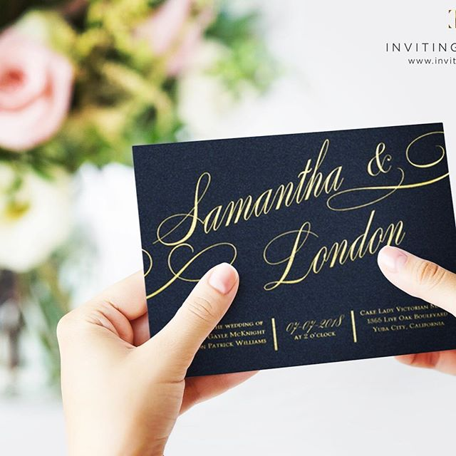 Wedding Invitations | Navy and Gold | One of our top selling navy and gold glitter wedding invitations! The It All Shimmer Invitation Suite features a beautiful calligraphy font & glitter gold back, swipe left and take a look. #weddinginvitations #navyandgoldwedding #calligraphyweddinginvitations #invitingtreasuresinc #goldfoilprint
