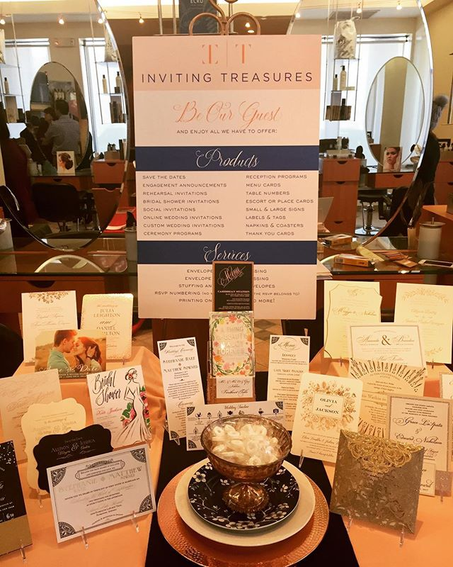 My wedding invitation showcase @depasqualethespa on Sunday. Had a blast meeting 2018 and 2018 brides. Looking forward to creating beautiful wedding suites for each of them . . . . #weddinginvitations #invitingtreasuresinc #weddingshowcase #2018brides #2019brides #glitterinvitations