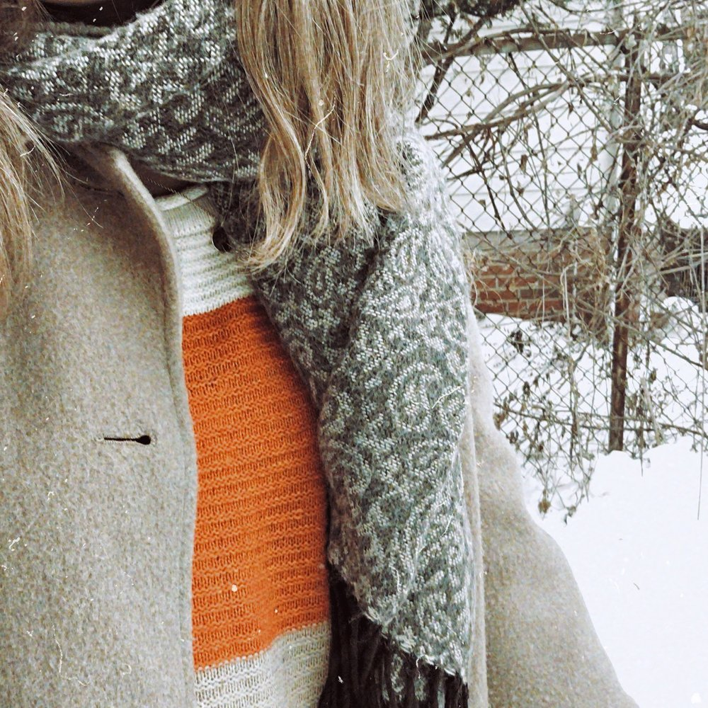 Color block sweater: SheIn  Coat & Scarf: Thrifted