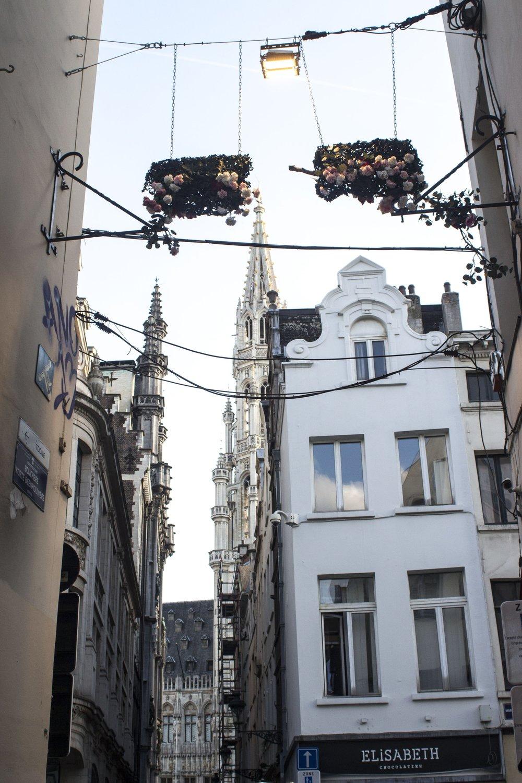 Flower hangings in Downtown Brussels.
