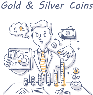 Gold-&-Silver-Coins exchanging for cash doodle