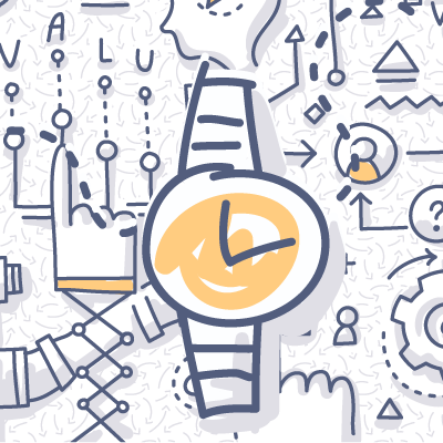 Wrist watch doodle drawing