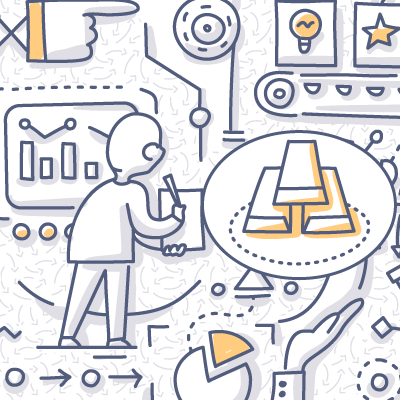Gold doodle drawing