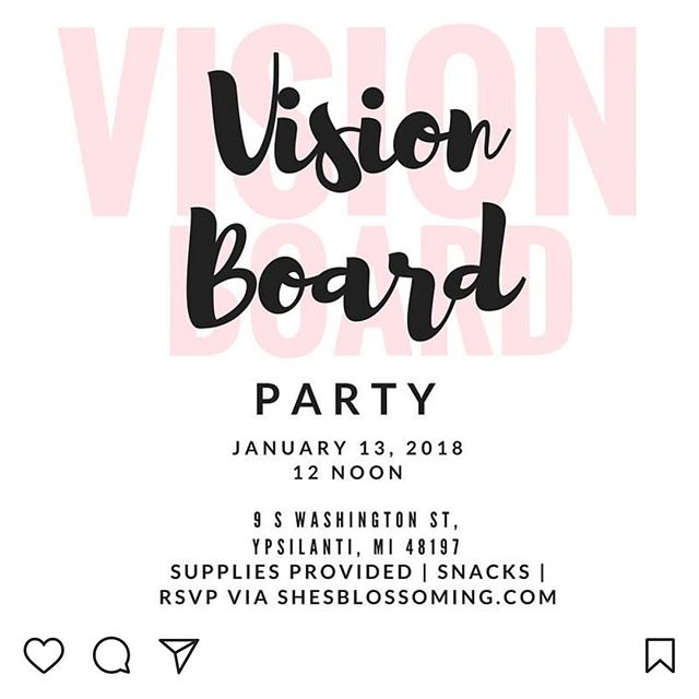 Noon this Saturday @shesblossoming will be hosting a Vision Board Party to start off the new year! This is the perfect day for you to come plant your vision and watch it grow! Learn how to follow through with your goals and connect with other strong motivated women. Check out the link in our bio to register! #ypsireal