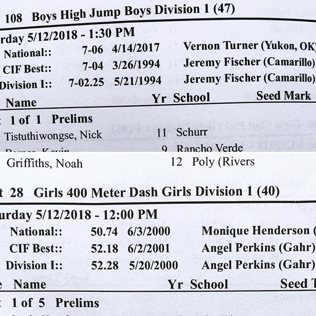 It's been my pleasure knowing @jeremyfhj & @_angelperkins . Had no idea you were super bad in HS when we met... just that you loved track like we love track. 🙌🏾 My question is... when are your records going to be surpassed? 24yr for #highjump and going on 18yr for#400m 😲 #amazing - - - #cif #trackandfield #highjump #sprinttechnique #consistencyiskey
