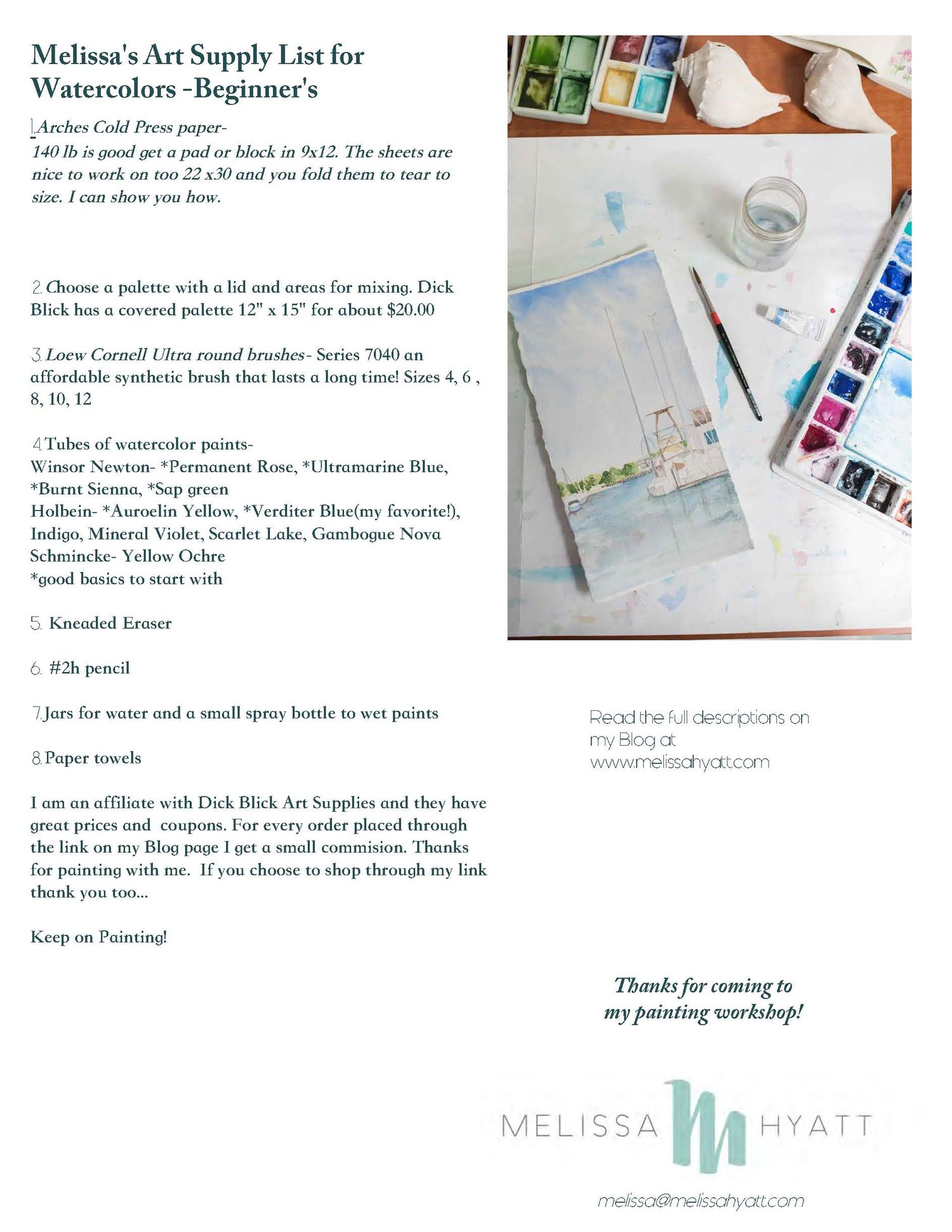 A watercolor supply list for beginner's and any artist! — Melissa