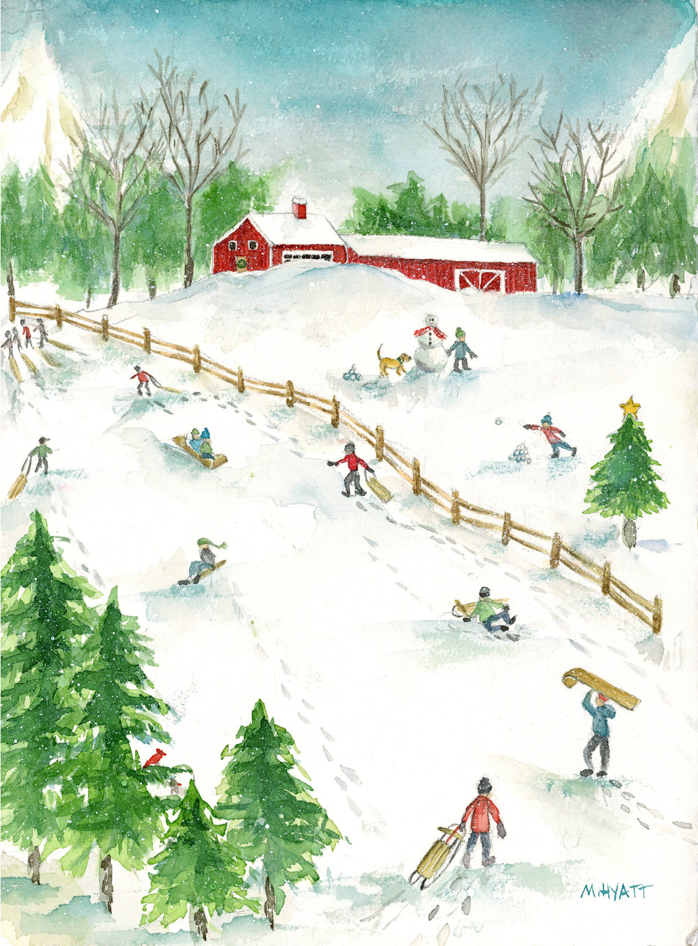 Sledding in New England featured as the  painting of the week by Melissa Hyatt