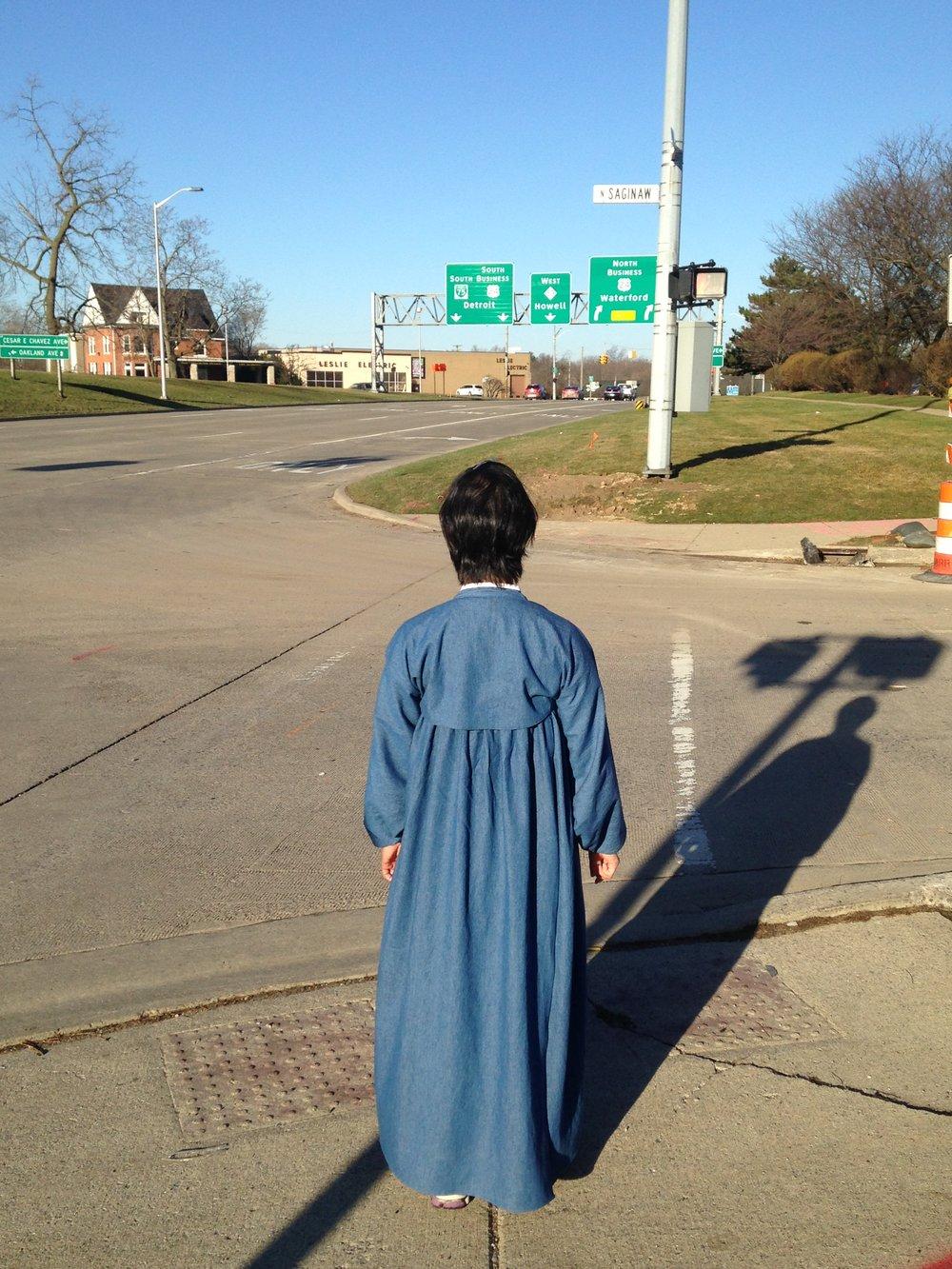 The start of the walk: Woodward and N. Saginaw, in Pontiac
