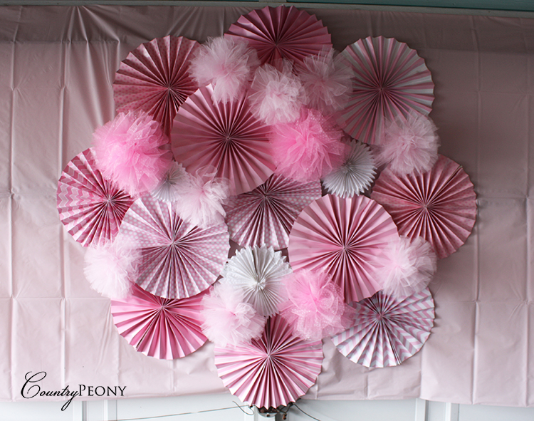 Tulle Ball and Fan Wall Backdrop