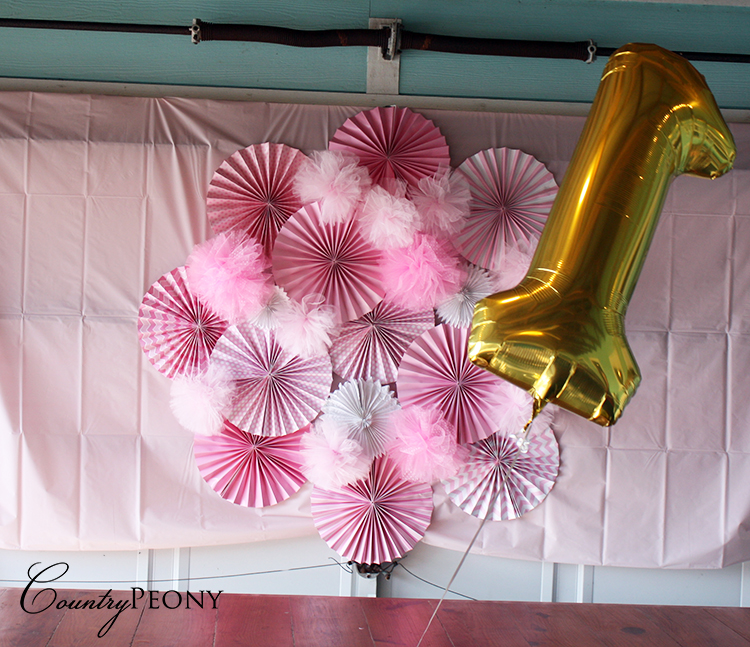 First Birthday Balloon and Fan Wall