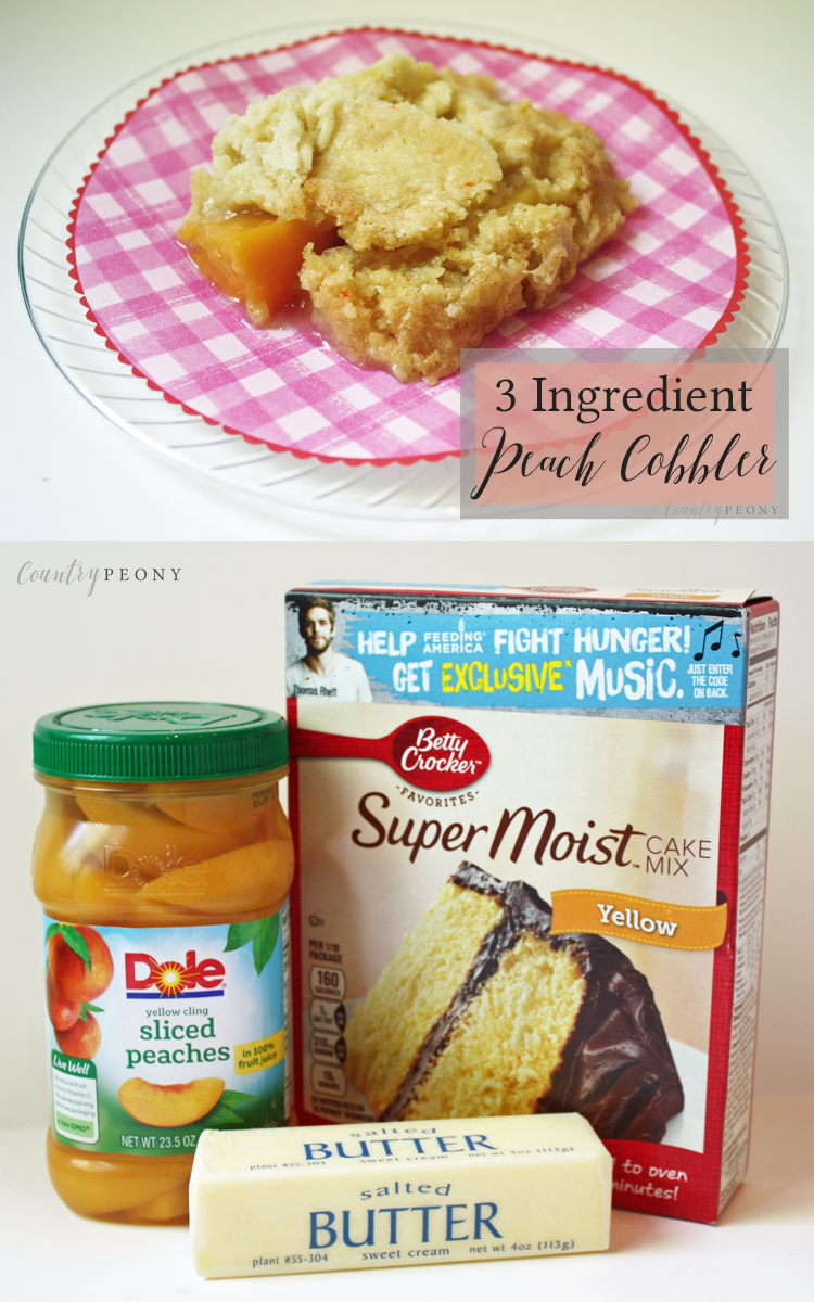 Easy, Three Ingredient Peach Cobbler