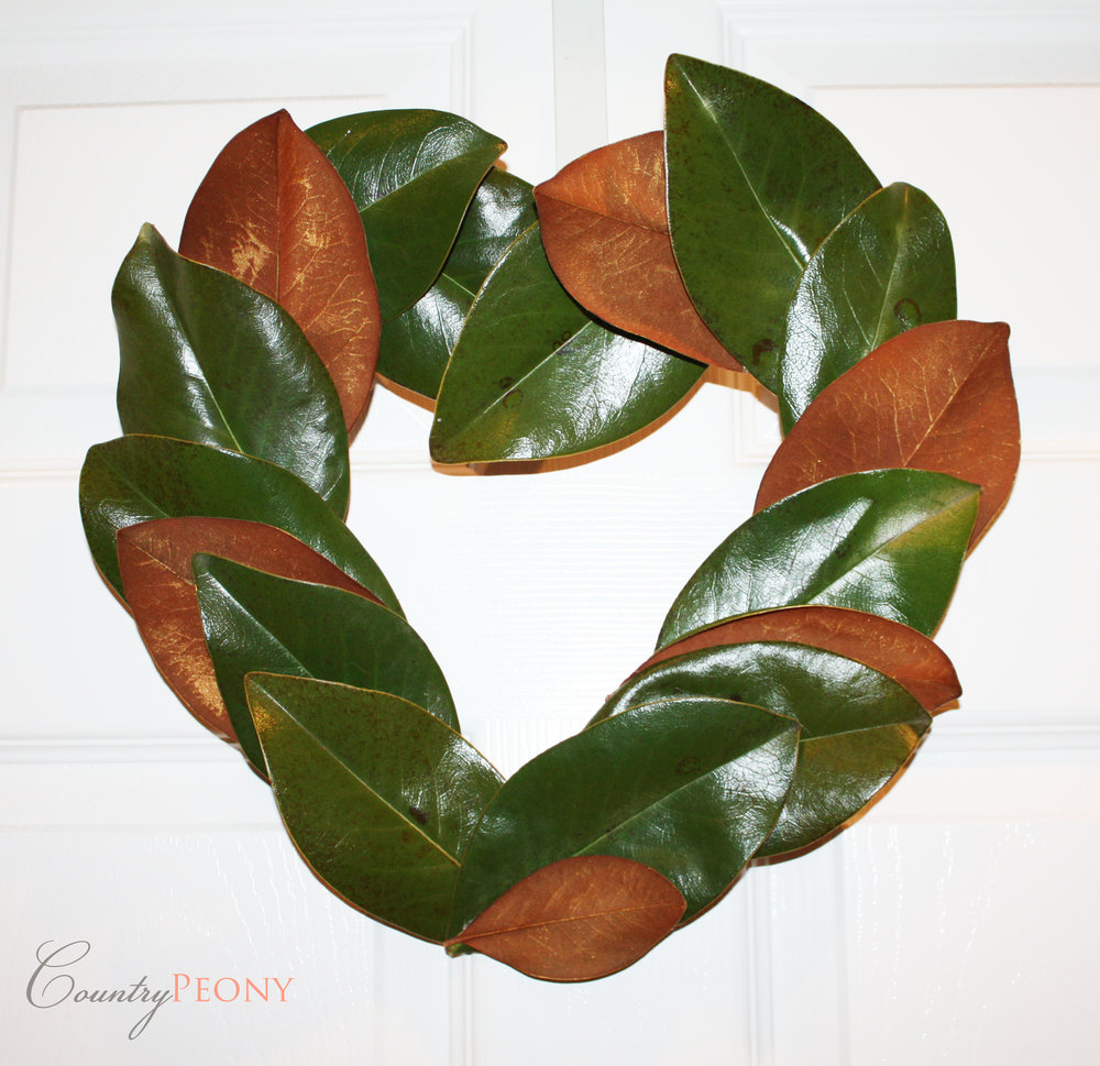 DIY Magnolia Heart Wreath