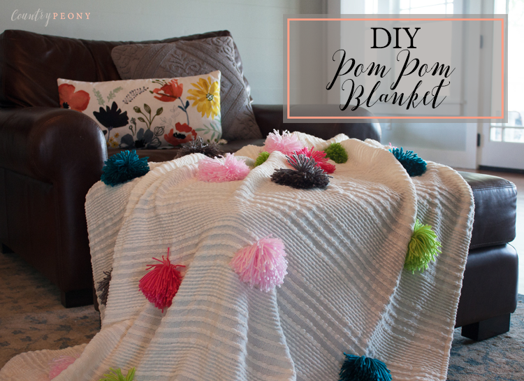 Anthropologie Inspired DIY Pom Pom Blanket