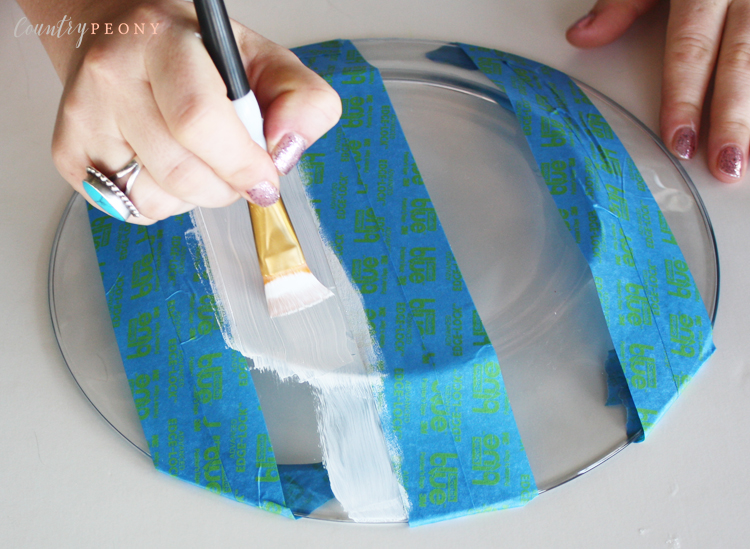 DIY Striped Painted Glass Plates