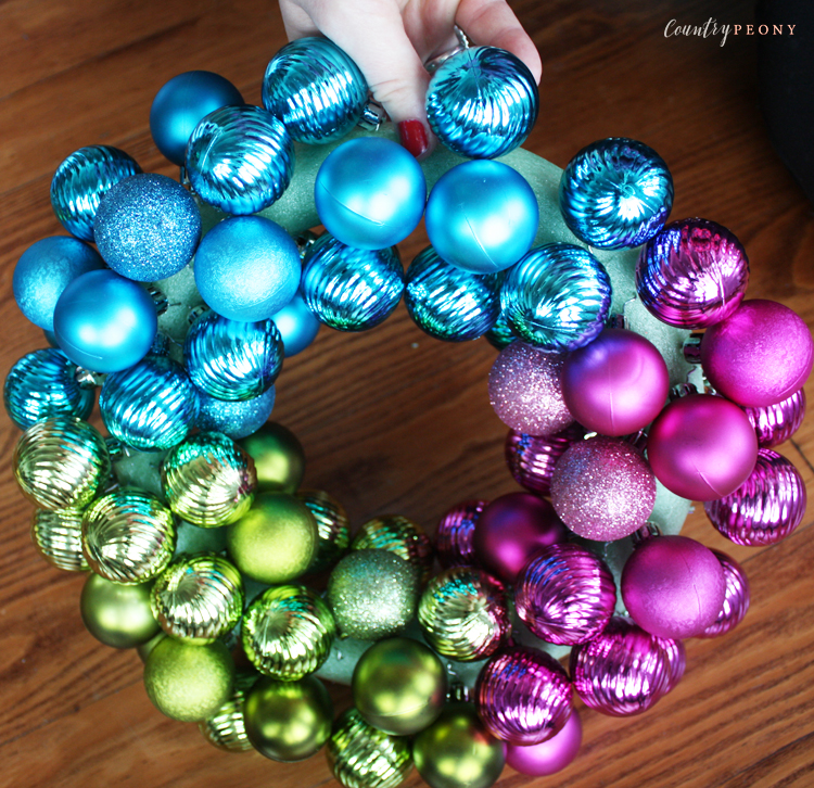 DIY Rainbow Bauble Christmas Wreath