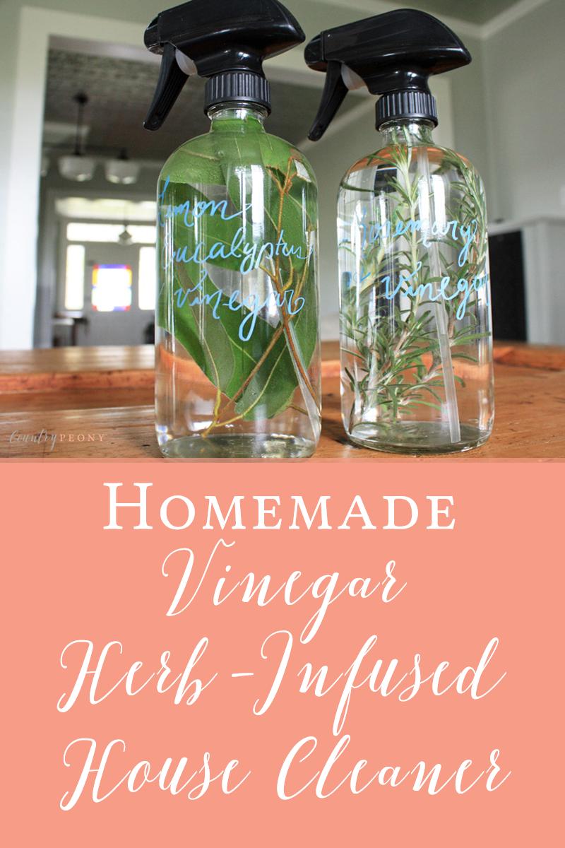Homemade Vinegar Herb-Infused House Cleaner