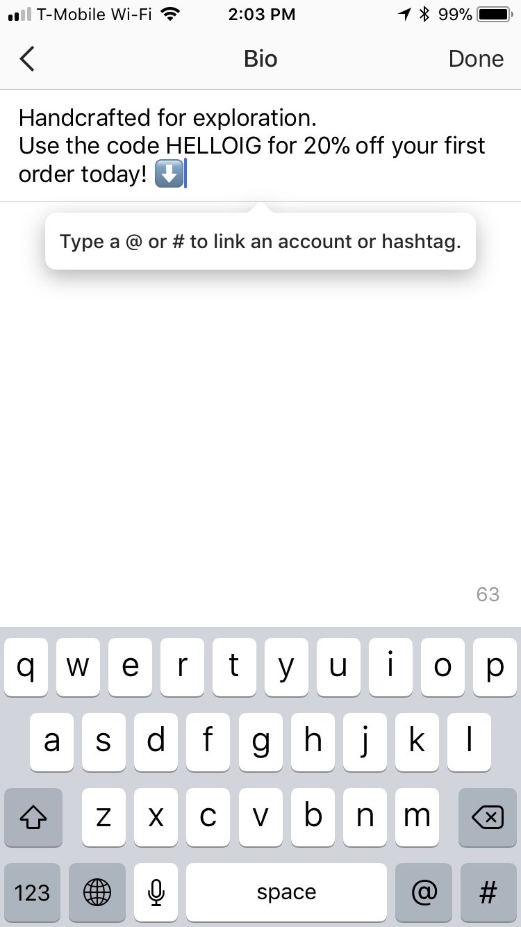 Instagram hashtag and profile links new feature