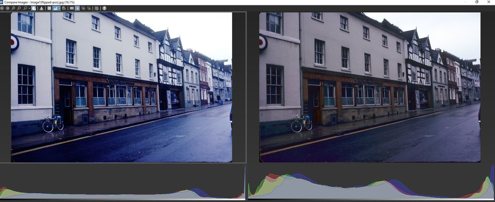 Compare negative (inverted to positive) on left to positive plus editing on right