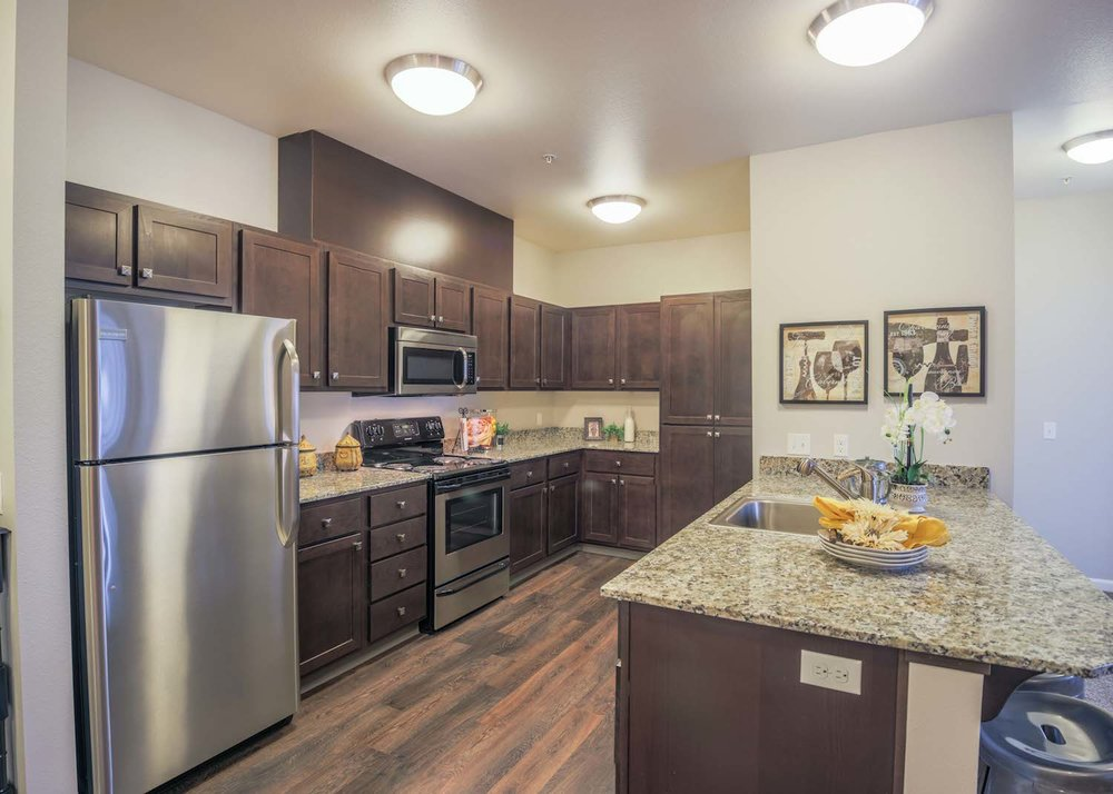 Stainless Steal Appliances <br> & Granite Countertops