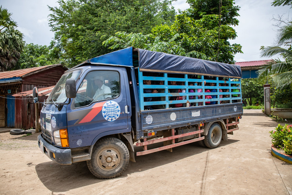 This big blue trailer goes around Poipet to pick up and drop off the kids from the morning and afternoon sessions.