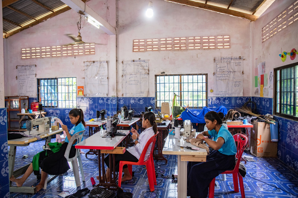 One of the vocational training programs. The kids learn how to sew and design garments and clothing.