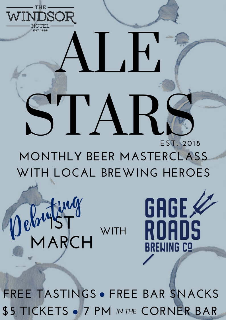 ALE STARS  The first Thursday of Every Month sees an introduction to our Tap Takeover with Ale Stars - Our Monthly Beer Masterclass.  For only $5 per person, beer lovers will learn the local brewing secrets, try their range of products as well as our specially paired Beer Snacks! This month staring Broome legends MATSO's!