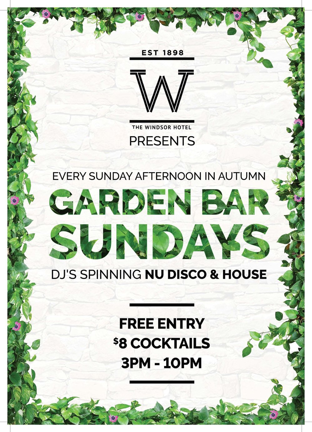 Garden Bar Sundays!   The best Sunday Session south of the river is here, in the Garden Bar every weekend in Autumn. Including $8 Cocktails, $15 Grazing Boards and live DJ's spinning house and nu disco all afternoon long!