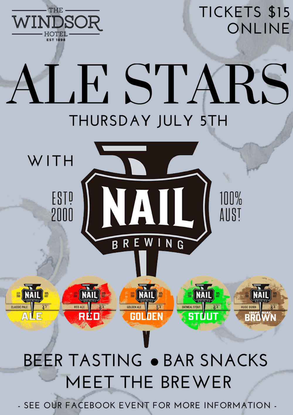 ALE STARS  The first Thursday of Every Month sees an introduction to our Tap Takeover with Ale Stars - Our Monthly Beer Masterclass.  For only $10 per person, beer lovers will learn the local brewing secrets, try their range of products as well as our specially paired Beer Snacks!