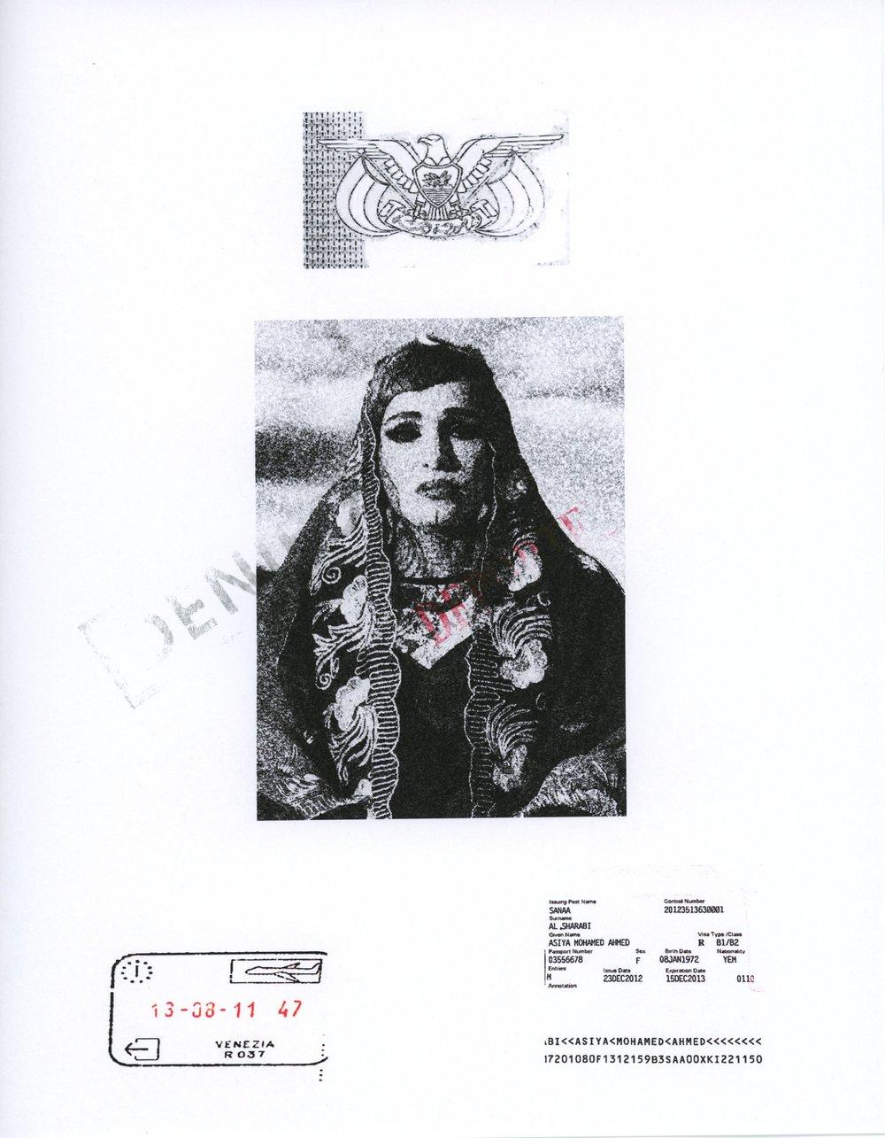 Asiya Al-Sharabi,  Trumperie , mixed media on Japanese paper