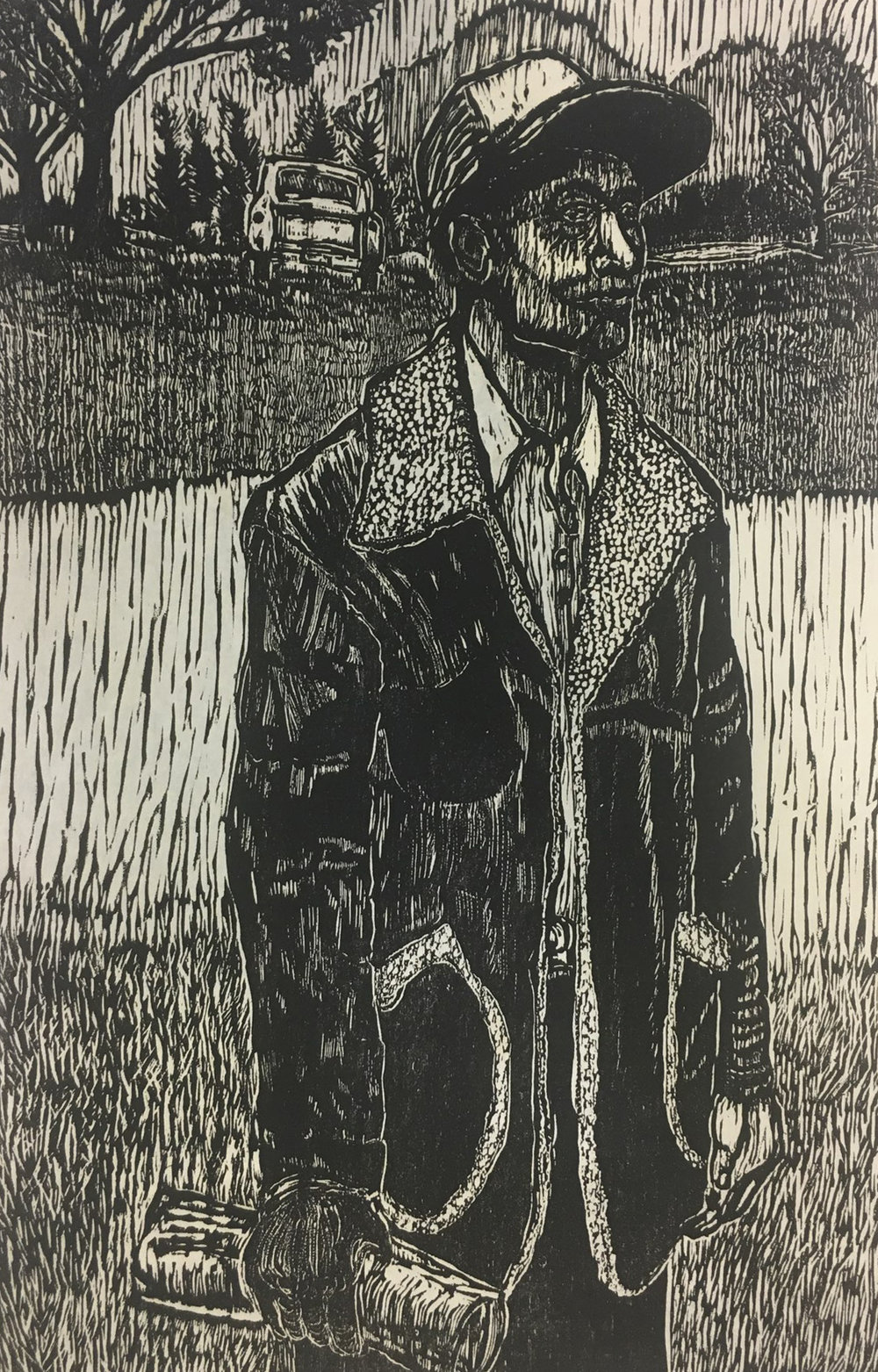 Dennis Winston,  Country Portrait III,  woodcut print