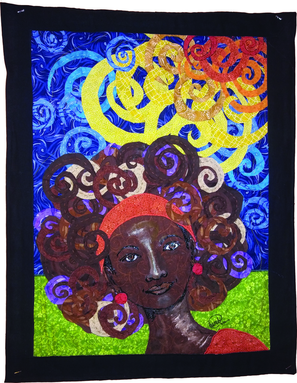Unicia Buster,  Windy Afro , fabric and fabric paint
