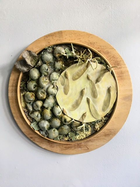 Susann Whittier,  Immersed on Occassion , 2018, ceramic, plaster, wood, encaustic, bark, and moss