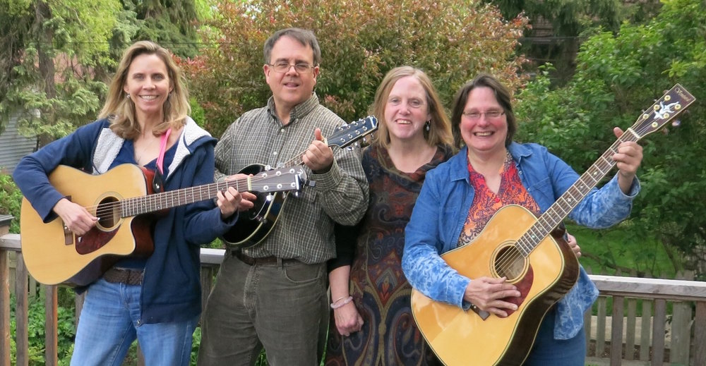 We're happy to welcome back the Walkin Boots, a popular local group of friends who love singing and playing instruments together.